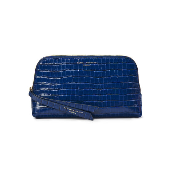 Small Essential Cosmetic Case in Deep Shine Blue Small Croc from Aspinal of London