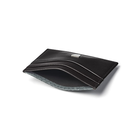 Slim Credit Card Holder in Smooth Black with Grey Land Snake from Aspinal of London
