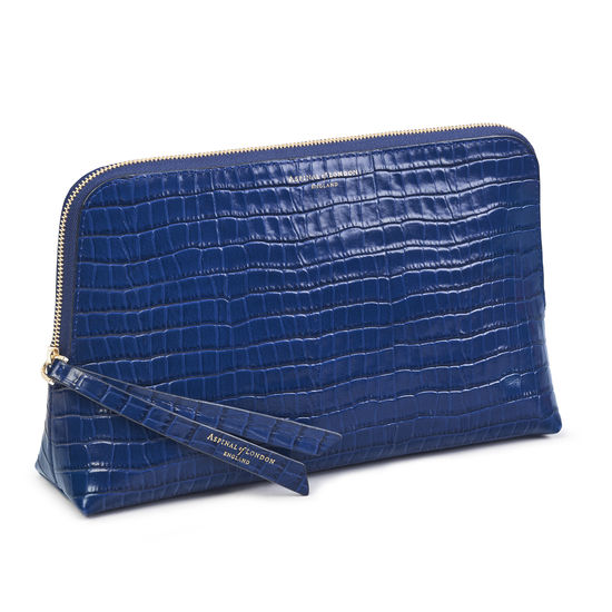 Large Essential Cosmetic Case in Deep Shine Blue Small Croc from Aspinal of London