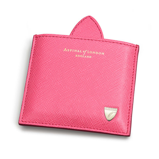 Compact Mirror in Bright Pink Saffiano from Aspinal of London