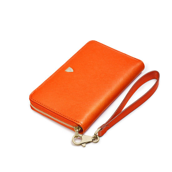 Midi Continental Wallet with Wrist Strap in Bright Orange Saffiano from Aspinal of London