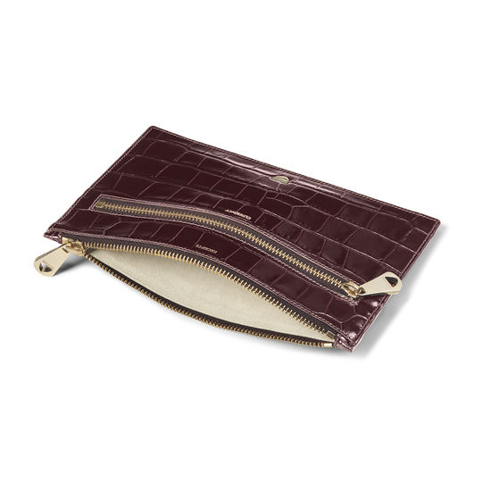 Receipts & Currency Pouch in Deep Shine Amazon Brown Croc from Aspinal of London