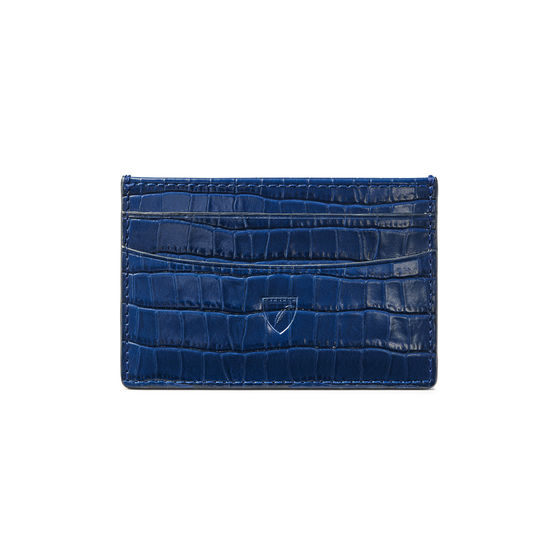 Slim Credit Card Holder in Deep Shine Blue Small Croc from Aspinal of London