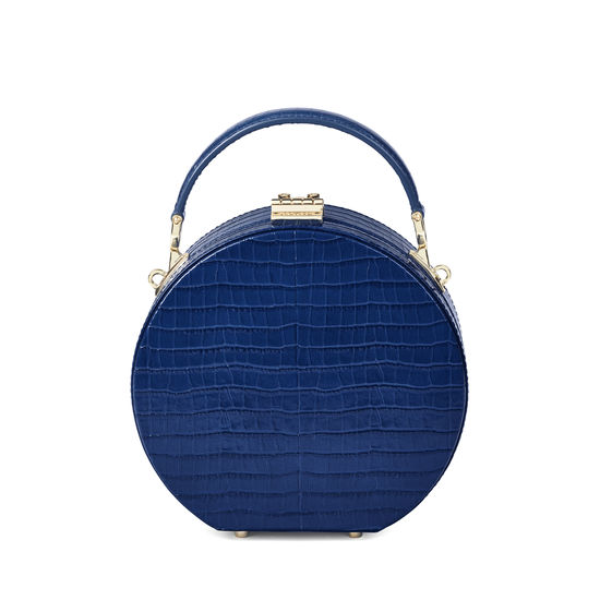 Hat Box in Deep Shine Blue Small Croc from Aspinal of London