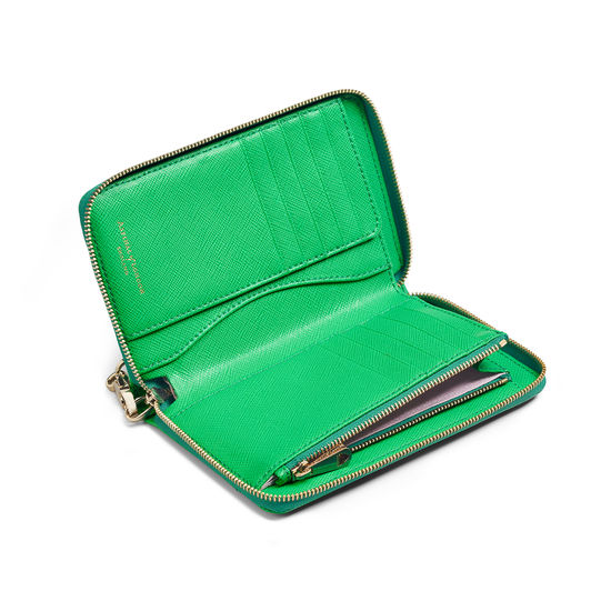 Midi Continental Wallet with Wrist Strap in Bright Green Saffiano from Aspinal of London