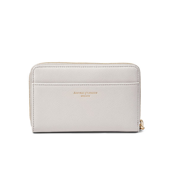 Midi Continental Wallet with Wrist Strap in Light Grey Saffiano from Aspinal of London