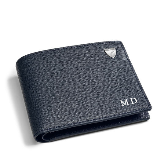 Billfold Coin Wallet in Navy Saffiano & Smooth Navy from Aspinal of London