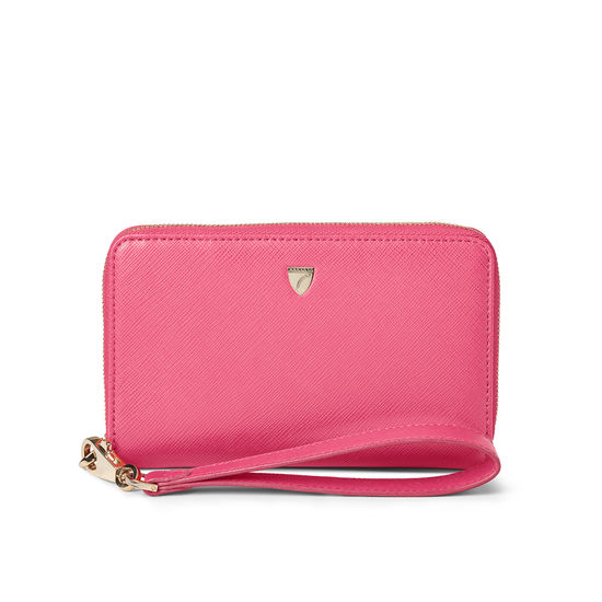 Midi Continental Wallet with Wrist Strap in Bright Pink Saffiano from Aspinal of London