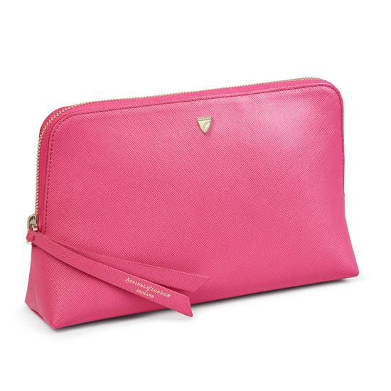 Large Essential Cosmetic Case in Bright Pink Saffiano from Aspinal of London