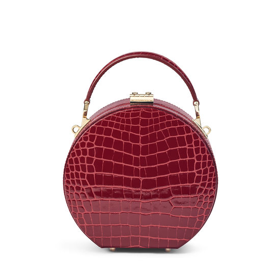 Hat Box in Bordeaux Patent Croc from Aspinal of London