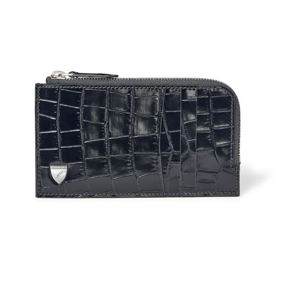 Zipped Card Wallet in Deep Shine Black Small Croc from Aspinal of London