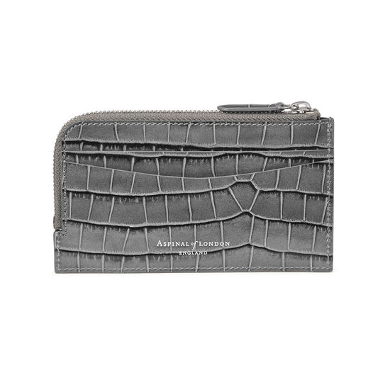 Zipped Card Wallet in Deep Shine Grey Small Croc from Aspinal of London