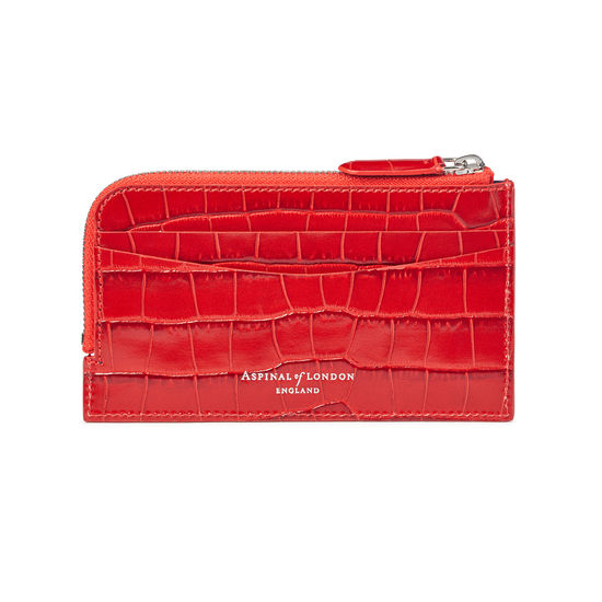 Zipped Card Wallet in Deep Shine Red Small Croc from Aspinal of London