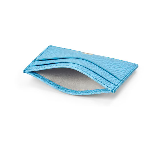 Slim Credit Card Holder in Bright Blue Saffiano from Aspinal of London