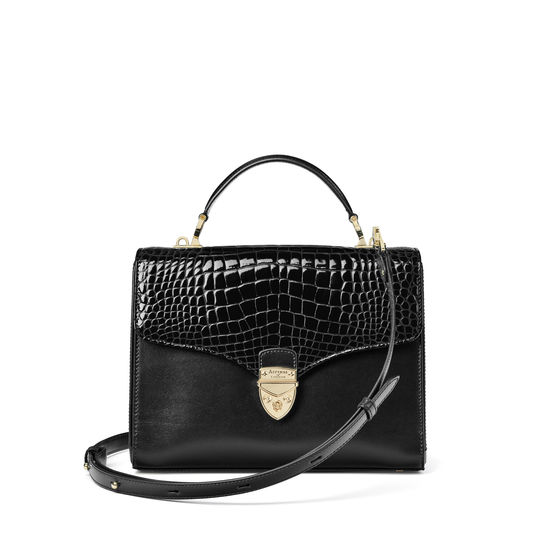 Mayfair Bag in Black Patent Croc & Smooth Black from Aspinal of London