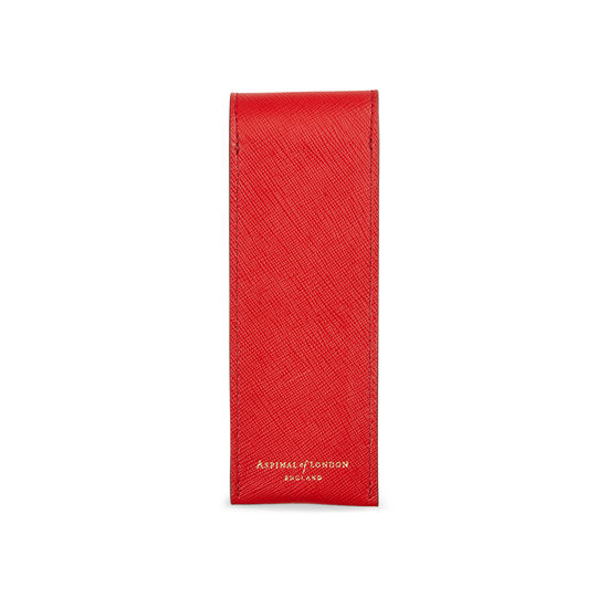 Small Pen Case in Scarlet Saffiano & Navy Suede from Aspinal of London