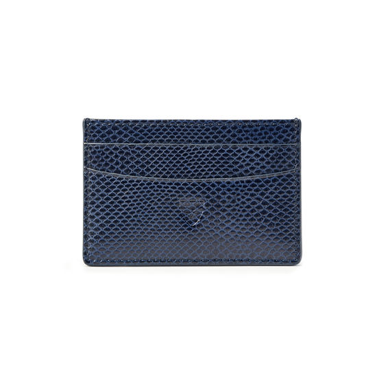 Slim Credit Card Holder in Midnight Blue Lizard from Aspinal of London