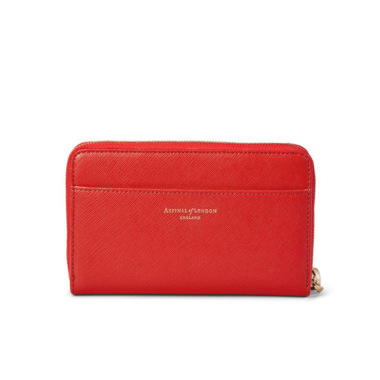 Midi Continental Wallet with Wrist Strap in Scarlet Saffiano from Aspinal of London