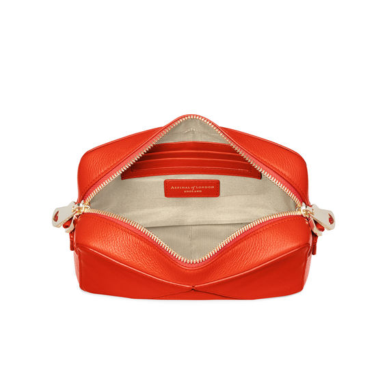 Camera 'A' Bag in Orange Small Grain Pebble with Webbing Strap from Aspinal of London