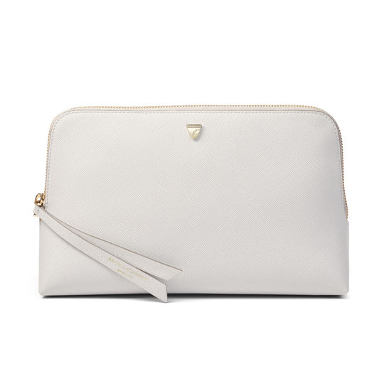 Large Essential Cosmetic Case in Light Grey Saffiano from Aspinal of London