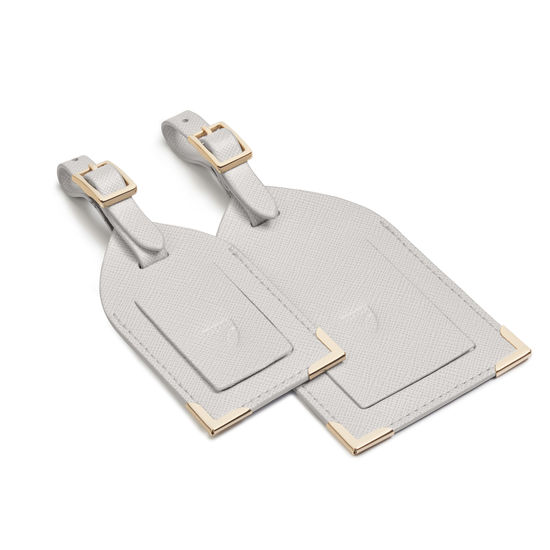 Set of 2 Luggage Tags in Light Grey Saffiano from Aspinal of London