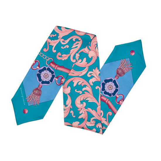 Signature Shield Silk Neck Bow Scarf in Bluebird from Aspinal of London