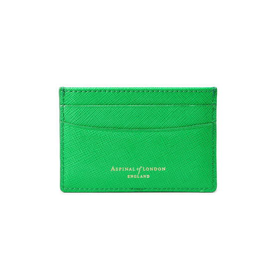 Slim Credit Card Holder in Bright Green Saffiano from Aspinal of London