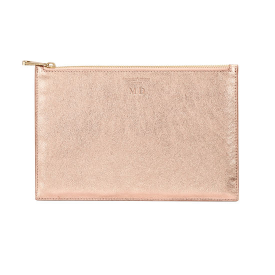 Large Essential Flat Pouch in Rose Gold Metallic from Aspinal of London