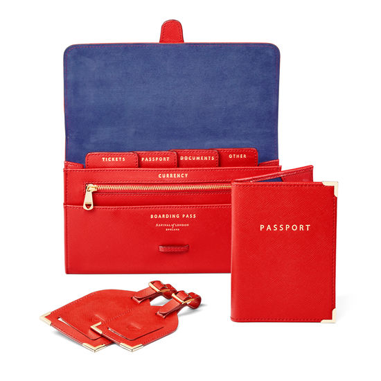 Travel Collection in Scarlet Saffiano from Aspinal of London