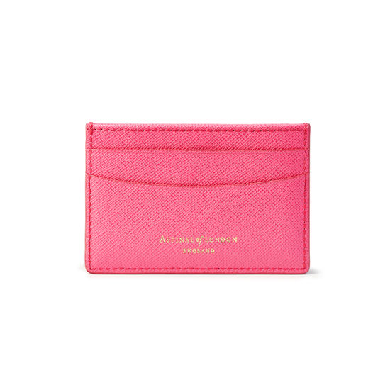 Slim Credit Card Holder in Bright Pink Saffiano from Aspinal of London