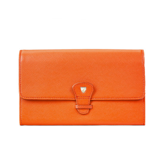 Classic Travel Wallet in Bright Orange Saffiano from Aspinal of London