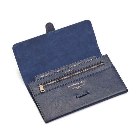 Classic Travel Wallet in Navy Saffiano from Aspinal of London