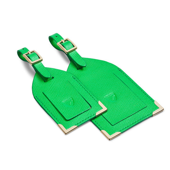 Set of 2 Luggage Tags in Bright Green Saffiano from Aspinal of London