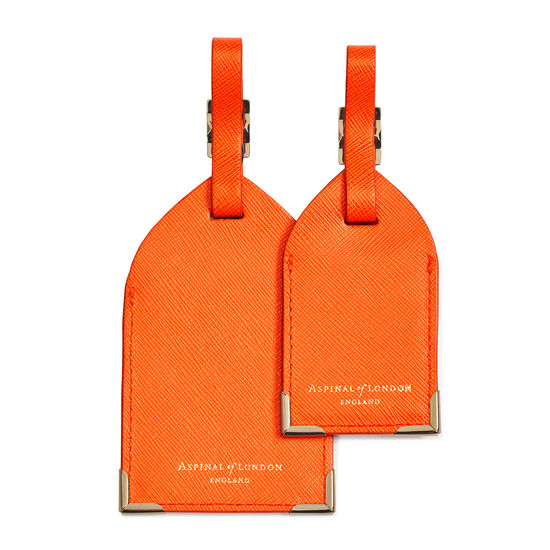 Set of 2 Luggage Tags in Bright Orange Saffiano from Aspinal of London