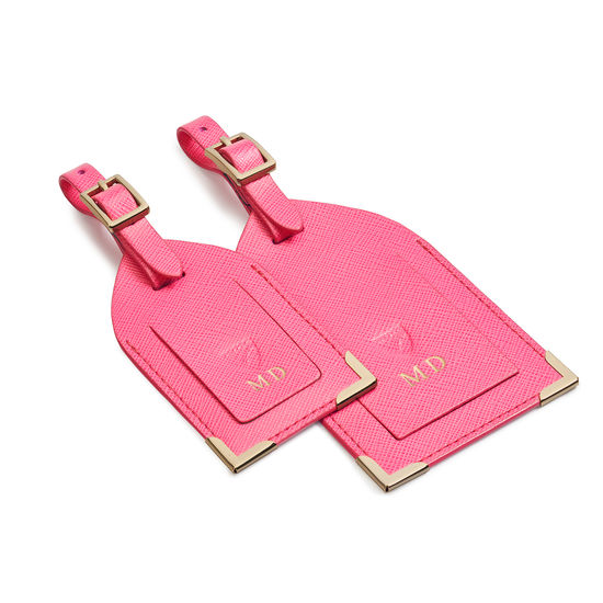 Set of 2 Luggage Tags in Bright Pink Saffiano from Aspinal of London