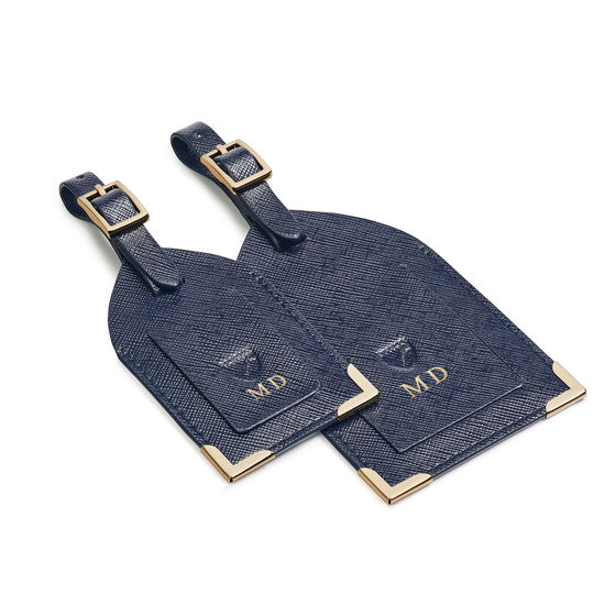 Set of 2 Luggage Tags in Navy Saffiano from Aspinal of London