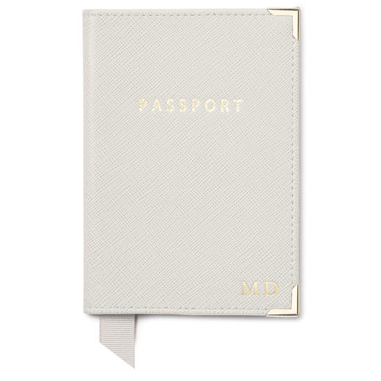 Travel Collection in Light Grey Saffiano from Aspinal of London