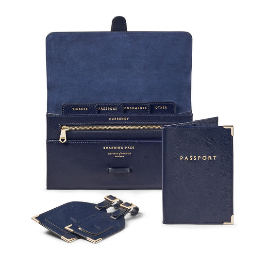 Travel Collection in Navy Saffiano from Aspinal of London