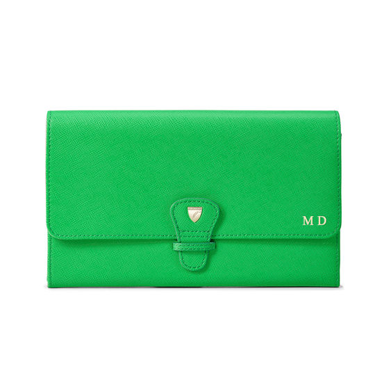 Travel Collection in Bright Green Saffiano from Aspinal of London
