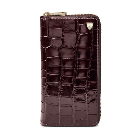 10 Card Zipped Coat Wallet in Deep Shine Amazon Brown Croc from Aspinal of London