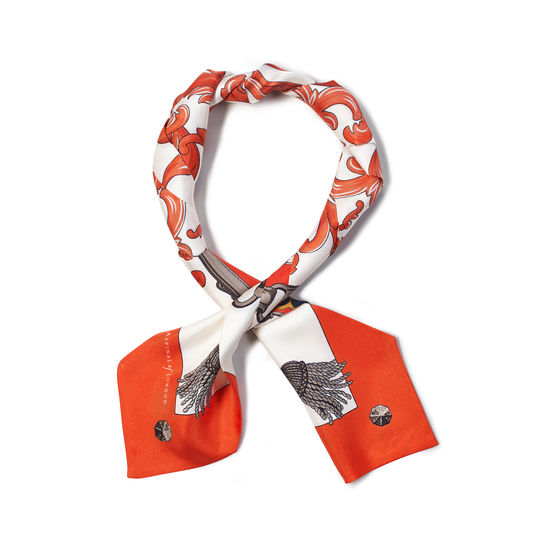 Signature Shield Silk Neck Bow Scarf in Orange from Aspinal of London