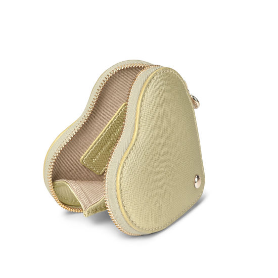 Heart Coin Purse in Gold Saffiano from Aspinal of London