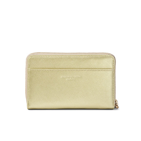 Midi Continental Wallet with Wrist Strap in Gold Saffiano from Aspinal of London