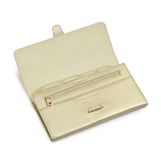 Classic Travel Wallet in Gold Saffiano from Aspinal of London