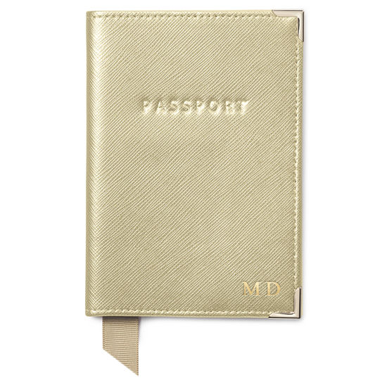 Passport Cover in Gold Saffiano from Aspinal of London