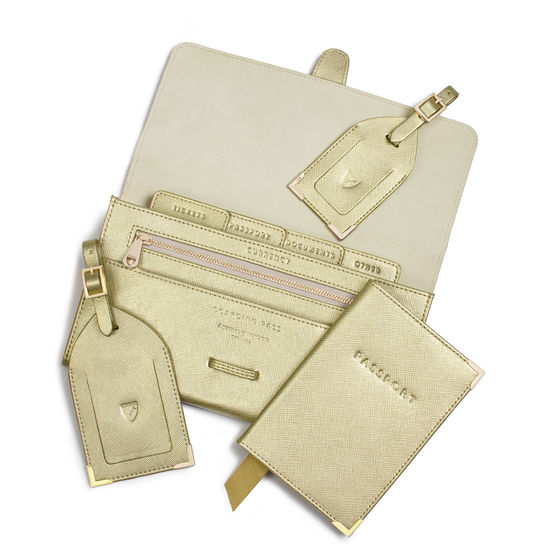 Travel Collection in Gold Saffiano from Aspinal of London