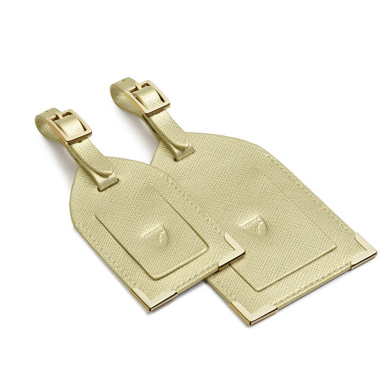 Set of 2 Luggage Tags in Gold Saffiano from Aspinal of London