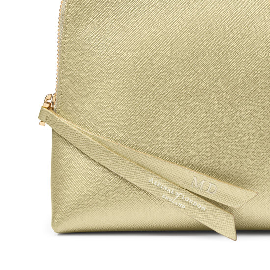 Large Essential Cosmetic Case in Gold Saffiano from Aspinal of London