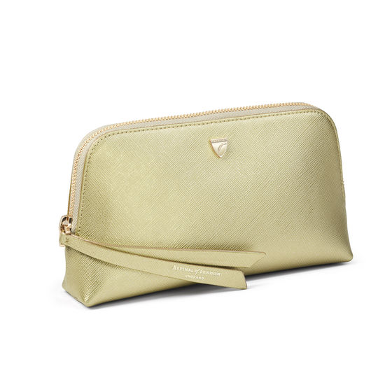 Small Essential Cosmetic Case in Gold Saffiano from Aspinal of London