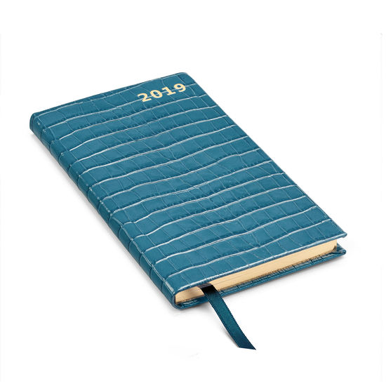 Slim Pocket Leather Diary in Deep Shine Topaz Small Croc from Aspinal of London